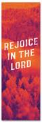 Rejoice in the Lord Fall harvest banner - duotone red