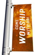 golden light pole banner for fall harvest season