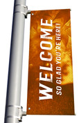 golden Welcome light pole banner for fall harvest season