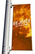 golden Rejoice in the Lord light pole banner for fall harvest season