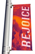 red Rejoice light pole banner for fall harvest season