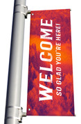 red Welcome So Glad You're Here light pole banner for fall harvest season