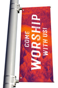 red come Worship with us So Glad You're Here light pole banner for fall harvest season