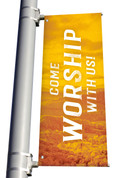 yellow Come Worship with us light pole banner for fall harvest season