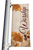 Wood Worship With Us dark light pole banner for fall harvest season