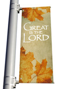 Vintage Leaves Great is the Lord light pole banner for fall harvest season