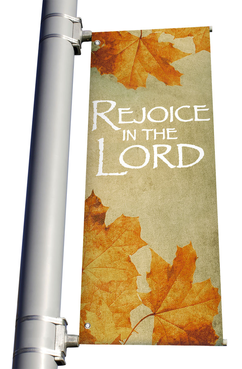 Fall Vintage Leaves Rejoice In The Lord Ds Church Banners