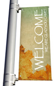 Vintage Leaves Welcome We are Glad you came light pole banner for fall harvest season