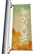Vintage Leaves Worship with us light pole banner for fall harvest season