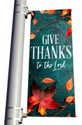 Teal Concrete Give Thanks to the Lord light pole banner for fall harvest season
