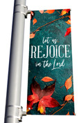 Teal Concrete let us Rejoice in the Lord light pole banner for fall harvest season