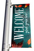 Teal Concrete Welcome glad you're here light pole banner for fall harvest season