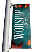 Teal Concrete Worship with us light pole banner for fall harvest season