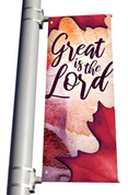 Watercolor Red Leaf Great is the Lord light pole banner for fall harvest season