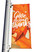Orange Leaf 2 Give Him Thanks light pole banner for fall harvest season