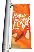 Orange Leaf 2 Rejoice in the Lord light pole banner for fall harvest season