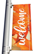 Orange Leaf 2 Welcome Glad You're Here light pole banner for fall harvest season