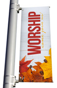 Rustic White Wood Worship Come join us light pole banner for fall harvest season