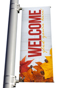 Rustic White Wood Welcome Glad you're here light pole banner for fall harvest season