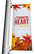 Rustic White Wood A thankful heart prepares the way light pole banner for fall harvest season