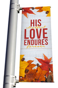 Rustic White Wood His steadfast love endures forever light pole banner for fall harvest season