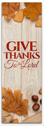 Give thanks to the Lord traditional wood design for fall harvest season.