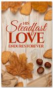 Thanksgiving banner steadfast love on wooden design