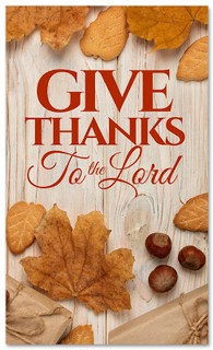 Thanksgiving banner give thanks on wooden design