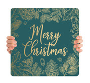 Teal Gold Leaf - Merry Christmas - CHH002