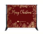 Red Gold Leaf Backdrop - Merry Christmas - CBB001