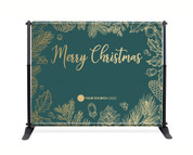 Teal Gold Leaf Backdrop - Merry Christmas - CBB003
