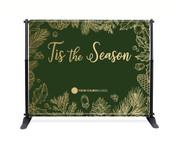 Green Gold Leaf Backdrop - Tis the Season - CBB006