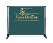 Teal Gold Bell Backdrop - Merry Christmas - CBB015