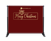 Red Gold Bell Backdrop - Merry Christmas - CBB017