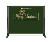 Green Gold Bell Backdrop - Merry Christmas - CBB019