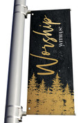 Gold Holly Trees Worship With Us Light Pole banner Christmas