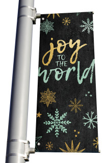 Blue Gold Snowflakes Joy to the World Light Pole banner Christmas