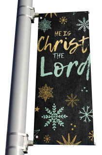Blue Gold Snowflakes He is Christ the Lord Light Pole banner Christmas