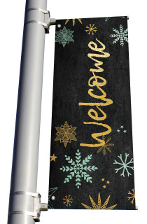 Blue Gold Snowflakes Welcome Light Pole banner Christmas