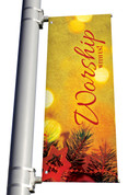 Vintage Ornament Worship With Us Banner Christmas