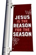 Texture Holly Jesus is the Reason Pole Banner Christmas