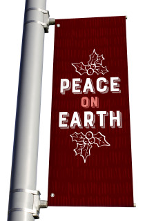 Texture Holly Peace on Earth Pole Banner Christmas