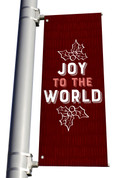 Texture Holly Joy to the World Pole Banner Christmas