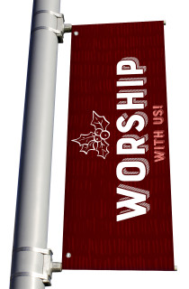 Texture Holly Worship Pole Banner Christmas