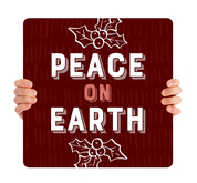 Burgundy Texture Holly - Peace on Earth - CHH028