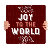 Burgundy Texture Holly - Joy to the World - CHH030