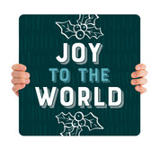 Teal Texture Holly - Joy to the World - CHH031