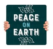 Teal Texture Holly - Peace on Earth - CHH033