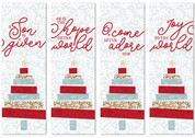 set of 4 fabric Christmas banners