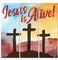 Three Crosses Jesus is Alive banner collage